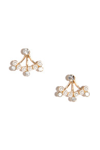 On the Side Gold Rhinestone Earring Jackets at Lulus.com!