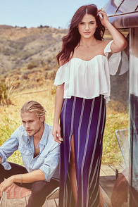 Line All Mine Ivory and Navy Blue Striped Maxi Skirt at Lulus.com!