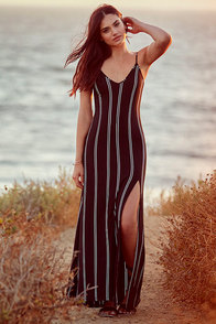 One for the Road Black Striped Maxi Dress at Lulus.com!
