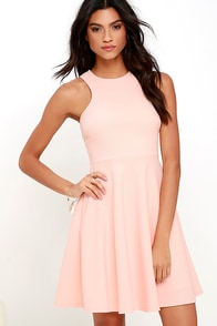 Now or Skater Peach Dress at Lulus.com!