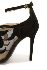 Yoki Adelpha Black Mesh Ankle Strap Heels at Lulus.com!