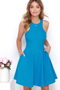 Now or Skater Blue Dress at Lulus.com!