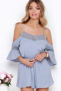 Wilde Heart Gypsy Warrior Blue Grey Lace Romper at Lulus.com!