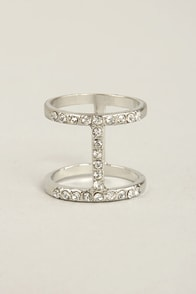 I Beaming Silver Rhinestone Ring at Lulus.com!