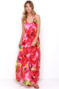 BB Dakota Deklyn Fuchsia Floral Print Maxi Dress at Lulus.com!