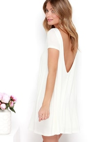 Thank You V Much Ivory Backless Swing Dress at Lulus.com!