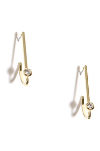 Half Moon Swoon Gold Rhinestone Earrings at Lulus.com!