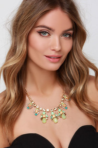 Nightly Entertainment Gold and Green Rhinestone Necklace at Lulus.com!