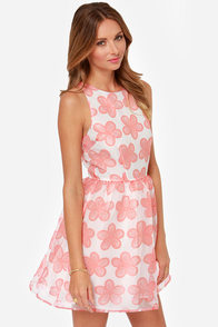 BB Dakota Shirley Light Red and White Floral Print Dress at Lulus.com!
