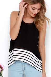 Is This Love? Black Striped High-Low Top at Lulus.com!