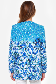 Monet-Sayer Blue Floral Print Jacket at Lulus.com!