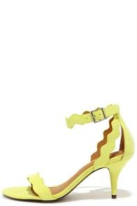 Chinese Laundry Rubie Lime Yellow Kitten Heels at Lulus.com!