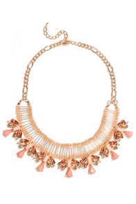 Beads and Love Coral Rhinestone Statement Necklace