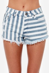 Roxy Smeaton Striped Cutoff Jean Shorts at Lulus.com!