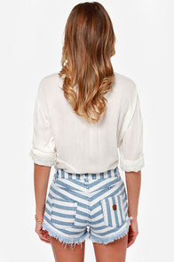 Roxy Smeaton Striped Cutoff Jean Shorts at Lulus.com!
