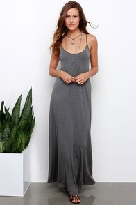 Sunset the Pace Grey Maxi Dress at Lulus.com!