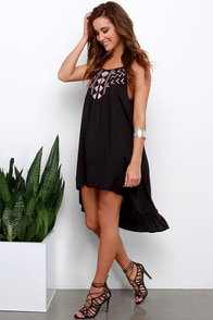 BB Dakota Kase Black Embroidered High-Low Dress at Lulus.com!