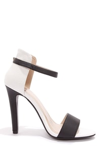 My Delicious Stick Black and White Reptile High Rise High Heels at Lulus.com!