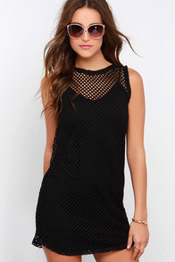 BB Dakota Evon Black Mesh Dress at Lulus.com!