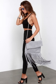 If You Frill Grey Suede Leather Fringe Purse at Lulus.com!