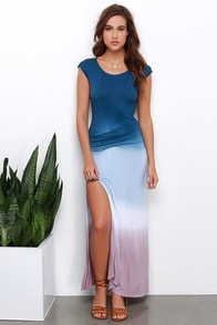 Geode to Joy Navy Blue Dip-Dye Maxi Dress at Lulus.com!