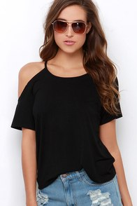 Brave the Elements Black Tee at Lulus.com!