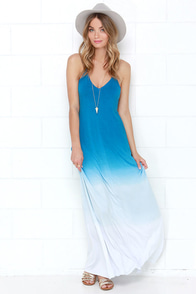 Mysterious Waterways Blue Dip-Dye Maxi Dress at Lulus.com!