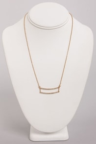 Dandy Bars Gold Rhinestone Necklace at Lulus.com!