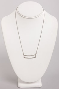 Dandy Bars Silver Rhinestone Necklace at Lulus.com!