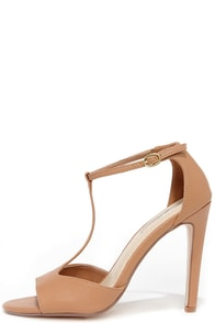 Dancin' Days Natural T Strap High Heel Sandals at Lulus.com!