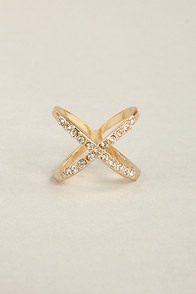 Hot Cross Fun Gold Rhinestone Ring at Lulus.com!