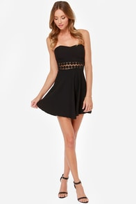 Worth the Waist Black Strapless Dress at Lulus.com!