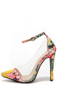 In the Clear Future Yellow Floral Print Lucite Heels at Lulus.com!