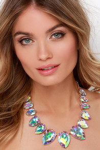 Princess Moment Iridescent Rhinestone Statement Necklace at Lulus.com!