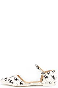 Gaze Out White Eye Print Pointed Ankle Strap Flats at Lulus.com!