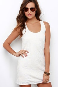 Coconut Cake Cream Embroidered Shift Dress at Lulus.com!