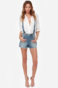 Dittos Clarissa Distressed Suspender Shorts at Lulus.com!