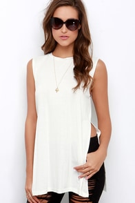 Flawless Strategy Ivory Muscle Tee at Lulus.com!