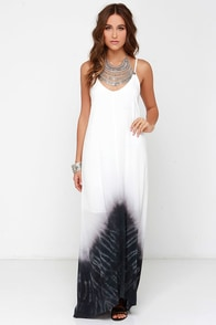 Oh, So Boho Ivory and Washed Black Tie-Dye Maxi Dress at Lulus.com!