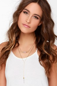 Gem Hunter Gold and Clear Crystal Layered Necklace at Lulus.com!