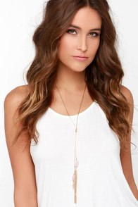 Dream Pretty Gold and Pink Crystal Tassel Necklace at Lulus.com!