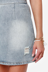 Mink Pink Story to be Told Distressed Denim Skirt at Lulus.com!