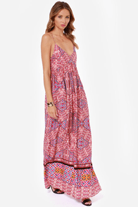 Mink Pink Water Tiles Red Print Maxi Dress at Lulus.com!