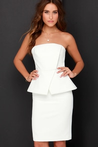 Finders Keepers Wildflower Ivory Strapless Midi Dress at Lulus.com!