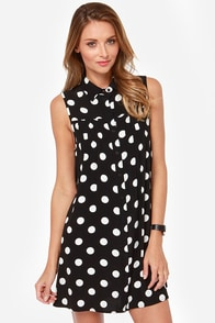 Mink Pink I am the Resurrection Black Polka Dot Shirt Dress at Lulus.com!