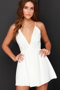 Wafting Willow Ivory Lace Romper at Lulus.com!