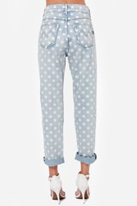 Mink Pink Sugar Magnolia Distressed Polka Dot Boyfriend Jeans at Lulus.com!