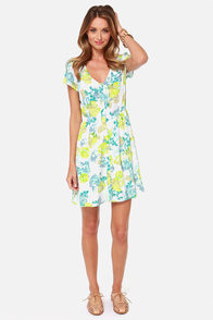 Jack by BB Dakota Cobie Green and Blue Floral Print Dress at Lulus.com!