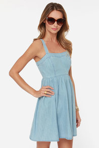 Jack by BB Dakota Lex Light Blue Chambray Dress at Lulus.com!