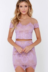Royal Road Lavender Lace Two-Piece Dress at Lulus.com!